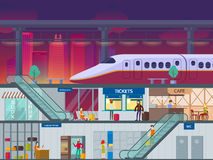 Flat Train Station Night Time Concept. With passengers platform and different departments and areas vector illustration Royalty Free Stock Photos