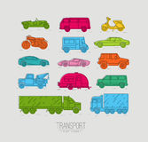 Flat transport icons color Stock Images