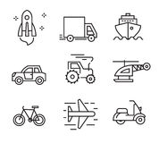 Flat transport icons. Vector black flat transport icons on white Stock Photos