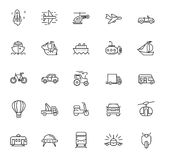 Flat transport icons. Vector black flat transport icons on white Stock Image