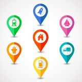 Flat transport  map pins Royalty Free Stock Images