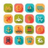 Flat transportation icons set Stock Photos