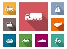 Flat transportation icons set Stock Photography