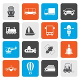 Flat Transportation, travel and shipment icons. Vector icon set Stock Images