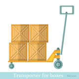 Flat transporter for boxes on white Stock Photos