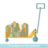 Flat transporter for money on white Royalty Free Stock Photo