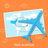 Flat travel with airplane illustration design Royalty Free Stock Photos