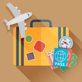 Flat travel with airplane illustration design concept background. Eps10 vector Stock Photo