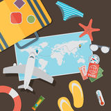 Flat travel with airplane illustration design concept background Stock Image