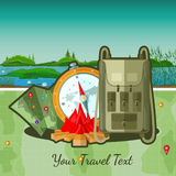 Flat travel background with tourists accessories Royalty Free Stock Photos