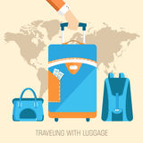 Flat travel with baggage illustration design Stock Photo
