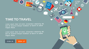 Flat travel banner with hand with gps phone and icons. Stock Photos