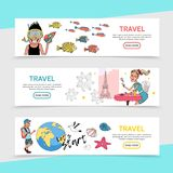 Flat Travel Horizontal Banners Royalty Free Stock Photos