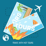 Flat travel with hot tours tickets illustration Royalty Free Stock Photography