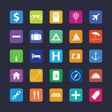 Flat travel icon set Stock Image