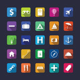 Flat travel icon set with shadow Royalty Free Stock Photo