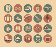 Flat Travel Icons. 20 flat icons in retro style executed in the same colors on the round buttons Travel and Leisure Royalty Free Stock Photography