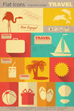 Flat Travel Icons Set Royalty Free Stock Images