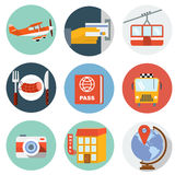 Flat Travel Icons Royalty Free Stock Photo