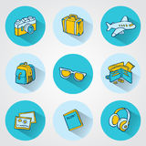 Flat travel icons for Web and Mobile Applications Royalty Free Stock Photo
