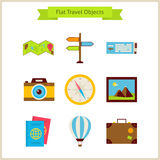 Flat Travel Objects Set Royalty Free Stock Images