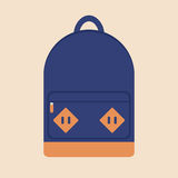 Flat travel and school backpack Royalty Free Stock Photography