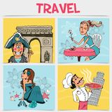 Flat Travel Square Concept royalty free illustration