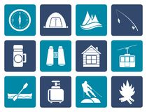 Flat travel, Tourism, vacation and mountain objects vector illustration