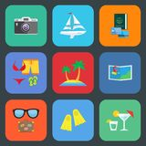 Flat travel or vacation icon set Royalty Free Stock Image