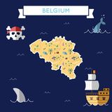 Flat treasure map of Belgium. Colorful cartoon with icons of ship, jolly roger, treasure chest and banner ribbon. Flat design vector illustration Royalty Free Stock Photos