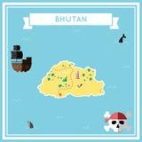 Flat treasure map of Bhutan. Royalty Free Stock Photo
