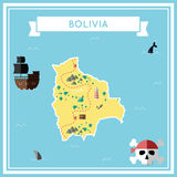 Flat treasure map of Bolivia. Royalty Free Stock Photo