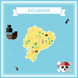 Flat treasure map of Ecuador. Colorful cartoon with icons of ship, jolly roger, treasure chest and banner ribbon. Flat design vector illustration Royalty Free Stock Photos