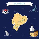 Flat treasure map of Ecuador. Colorful cartoon with icons of ship, jolly roger, treasure chest and banner ribbon. Flat design vector illustration Stock Photography