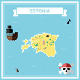 Flat treasure map of Estonia. Royalty Free Stock Photos