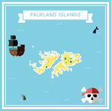 Flat treasure map of Falkland Islands Malvinas. Colorful cartoon with icons of ship, jolly roger, treasure chest and banner ribbon. Flat design vector Royalty Free Stock Images