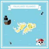 Flat treasure map of Falkland Islands Malvinas. Colorful cartoon with icons of ship, jolly roger, treasure chest and banner ribbon. Flat design vector Stock Photos