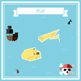 Flat treasure map of Fiji. Royalty Free Stock Images