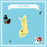 Flat treasure map of Finland. Colorful cartoon with icons of ship, jolly roger, treasure chest and banner ribbon. Flat design vector illustration Royalty Free Stock Photography