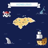 Flat treasure map of Honduras. Colorful cartoon with icons of ship, jolly roger, treasure chest and banner ribbon. Flat design vector illustration Stock Photos