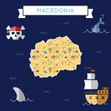 Flat treasure map of Macedonia, the Former. Royalty Free Stock Image