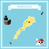 Flat treasure map of Morocco. Royalty Free Stock Photos