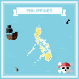Flat treasure map of Philippines. Stock Photos