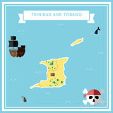 Flat treasure map of Trinidad and Tobago. Stock Photos