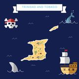 Flat treasure map of Trinidad and Tobago. Colorful cartoon with icons of ship, jolly roger, treasure chest and banner ribbon. Flat design vector illustration Stock Image