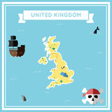 Flat treasure map of United Kingdom. Stock Photos