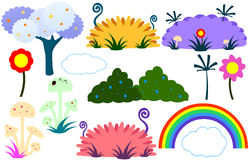 Flat Tree Flower Plants Rainbow Cloud Stock Photos