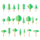 Flat Tree Set Icon Stock Photos