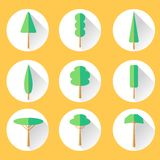 Flat Tree Set Icon Stock Images