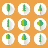 Flat Tree Set Icon Royalty Free Stock Photos